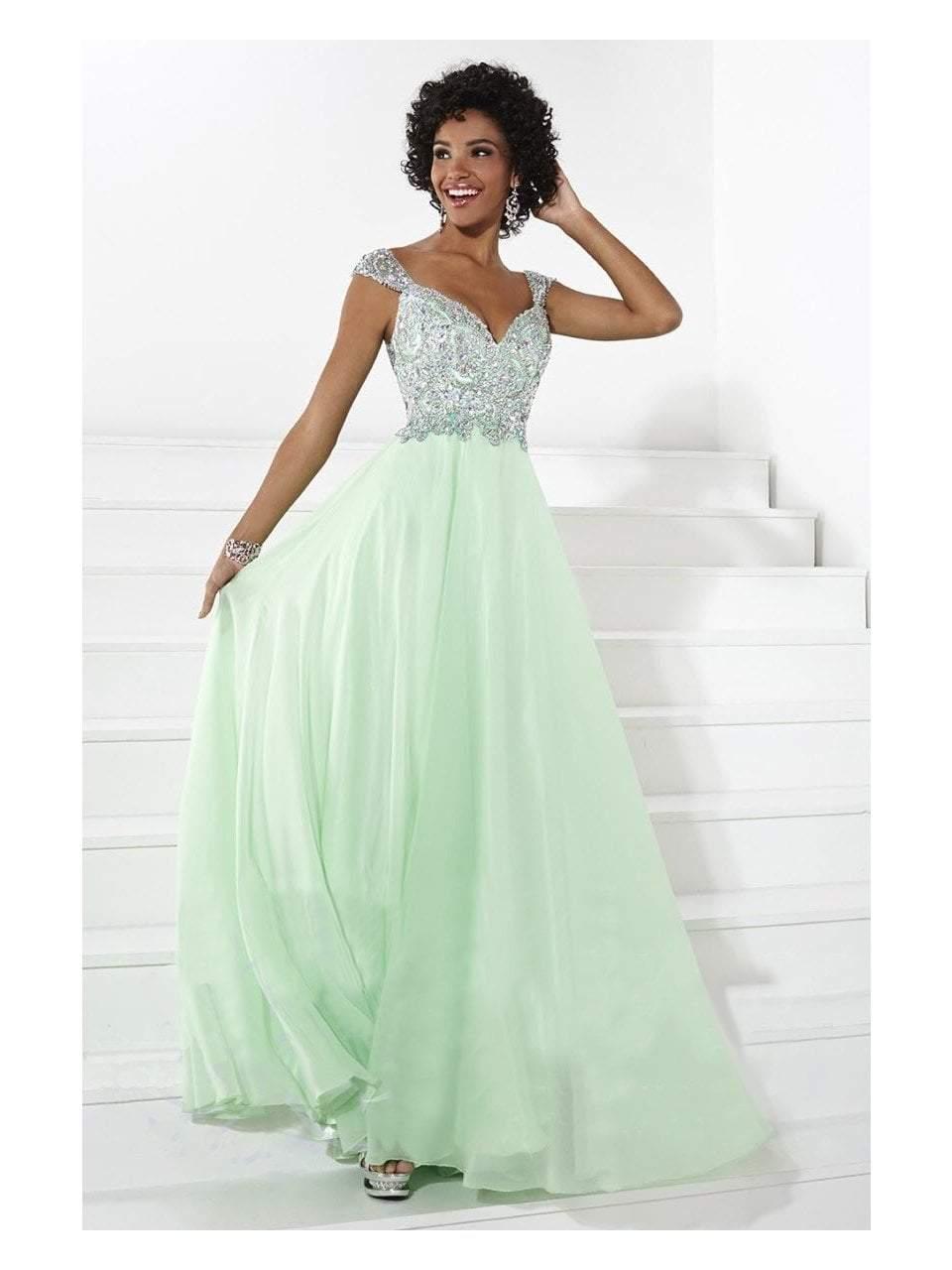 Tiffany Designs - 16085 Elegant Embellished V-neck Silky Chiffon A-line Dress