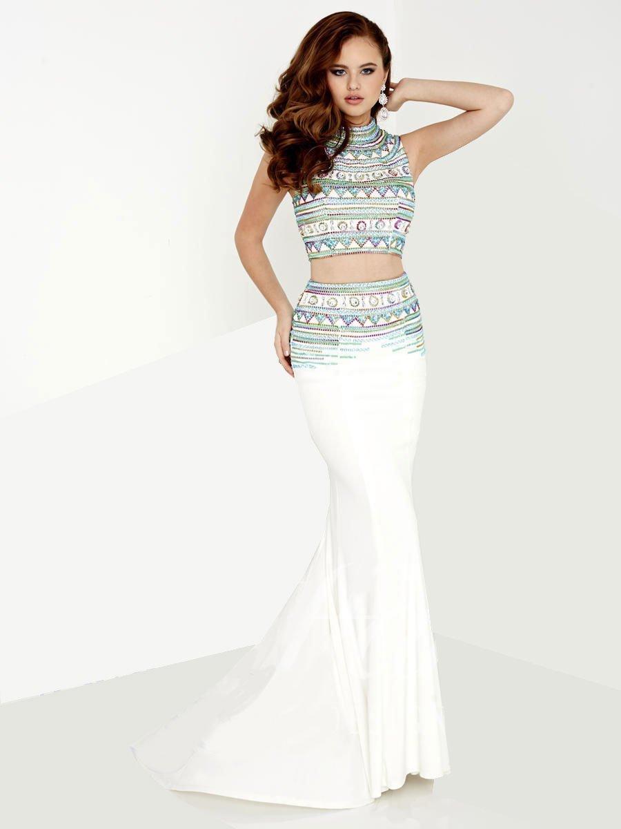 Tiffany Designs - 16117 Rhinestone Embellished Two Piece Trumpet Gown