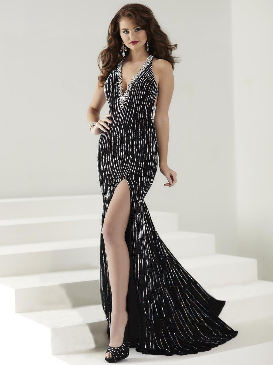Tiffany Designs - 16174 Radiantly Embellished V-Neck Long Evening Gown
