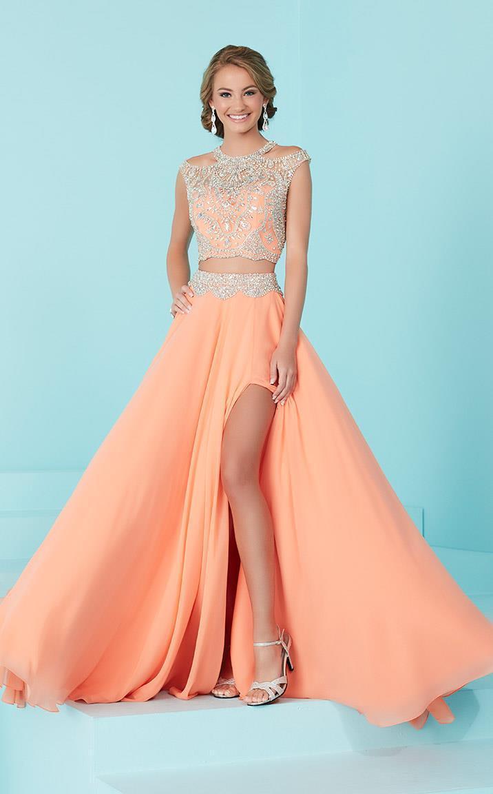 Tiffany Designs - 16202 Lavishly Adorned Bateau Illusion Evening Gown