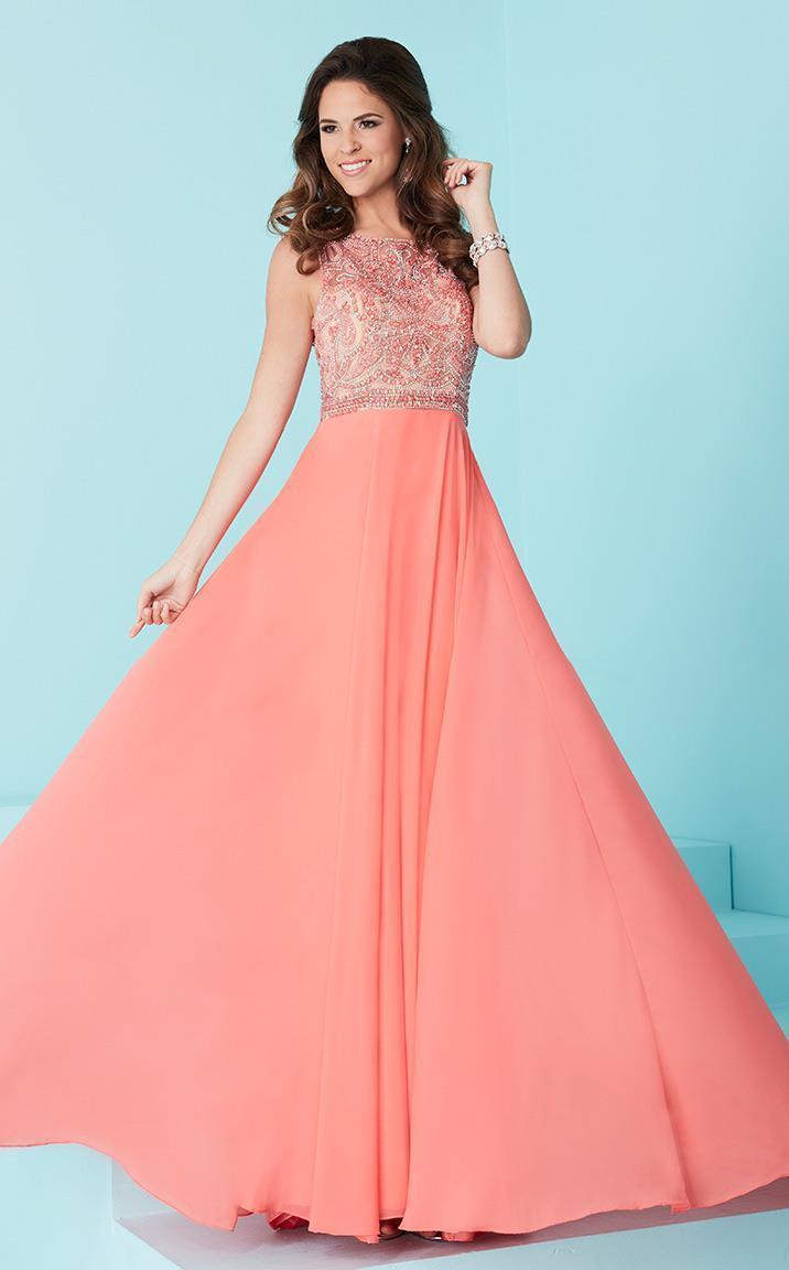 Tiffany Designs - 16244 Alluring Beaded Bateau Illusion Neck Chiffon A-line Dress