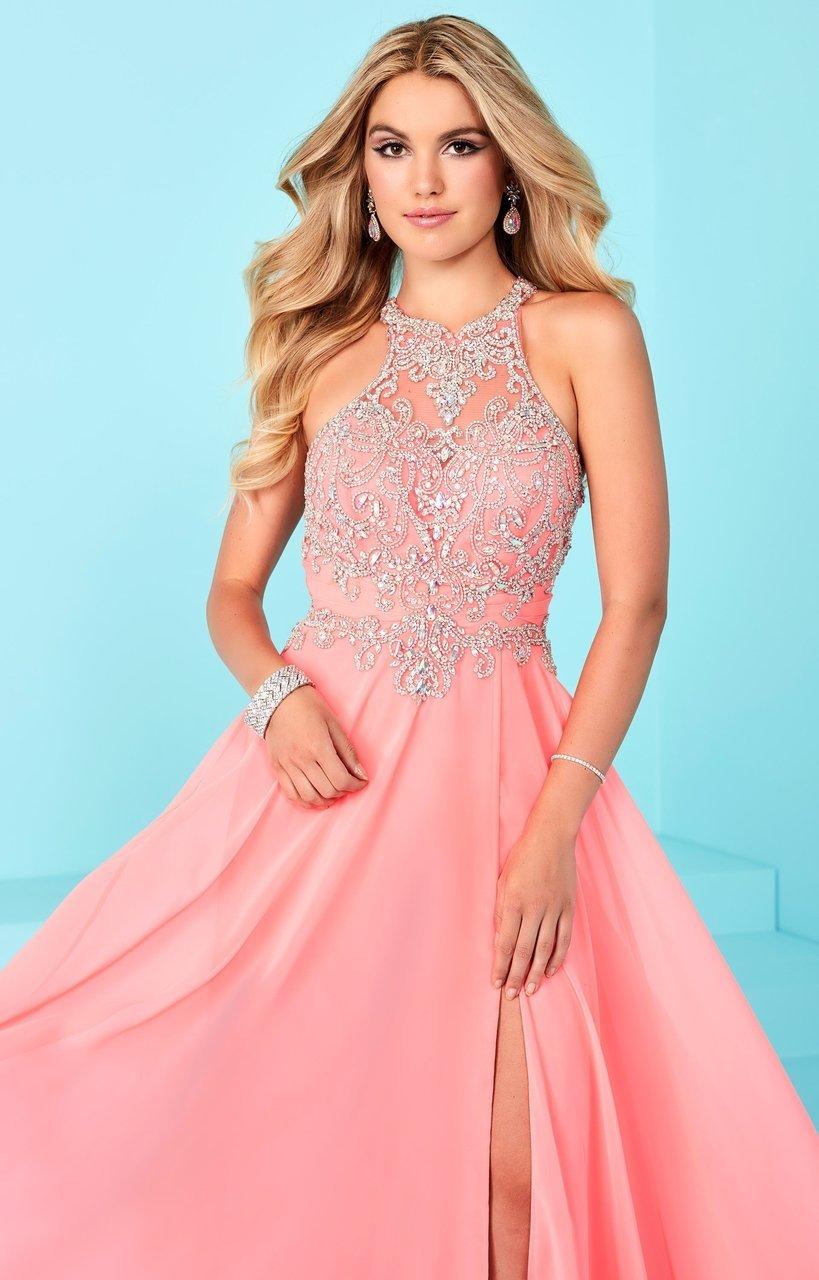 Tiffany Designs - 16255 Illusion Crystal Ornate High Slit Chiffon Gown