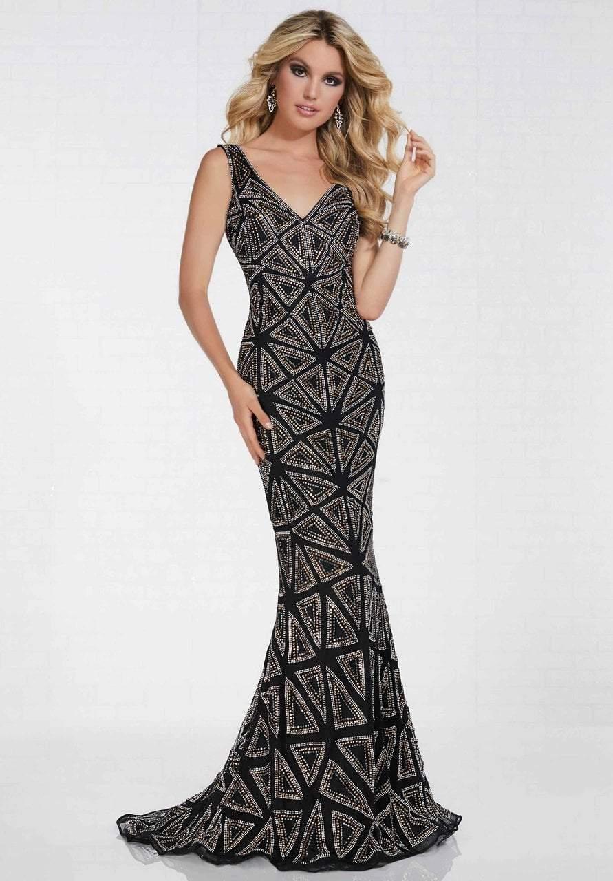 Tiffany Designs - 16262 Geometric Beaded Sleeveless Mermaid Gown