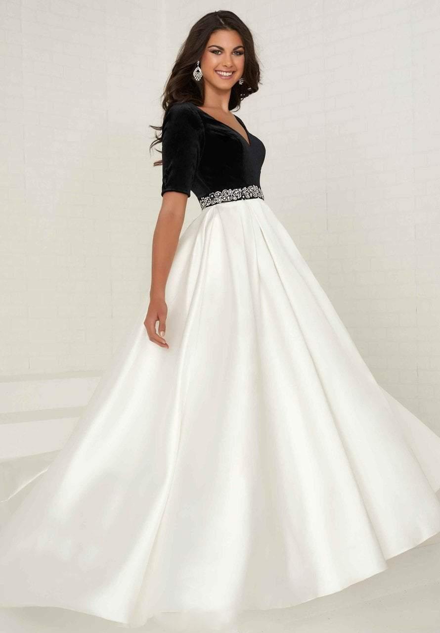 Tiffany Designs - 16287 Beaded Velvet/Mikado A-line Dress