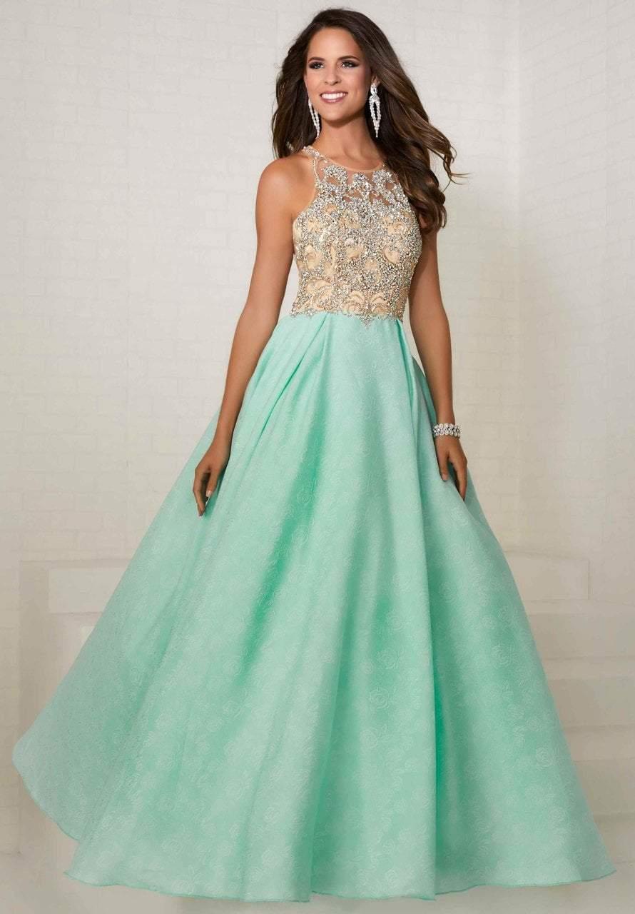 Tiffany Designs - 16289 Bejeweled Illusion Halter Brocade Ballgown