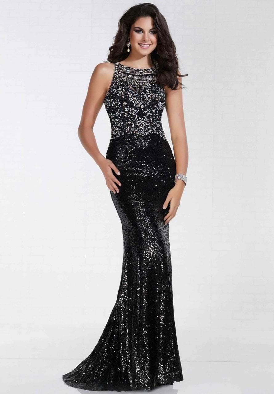 Tiffany Designs - 16298 Sequined Halter Neck Sheath Dress