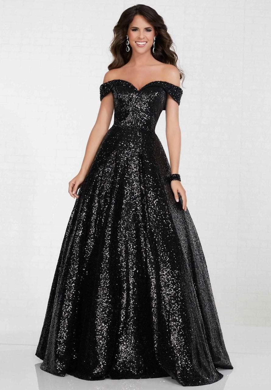 Tiffany Designs - 16303 Sequined Off-Shoulder Long A-line Dress
