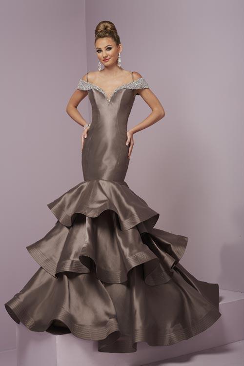 Tiffany Designs - 46075 Bejeweled Portrait Neck Mermaid Dress