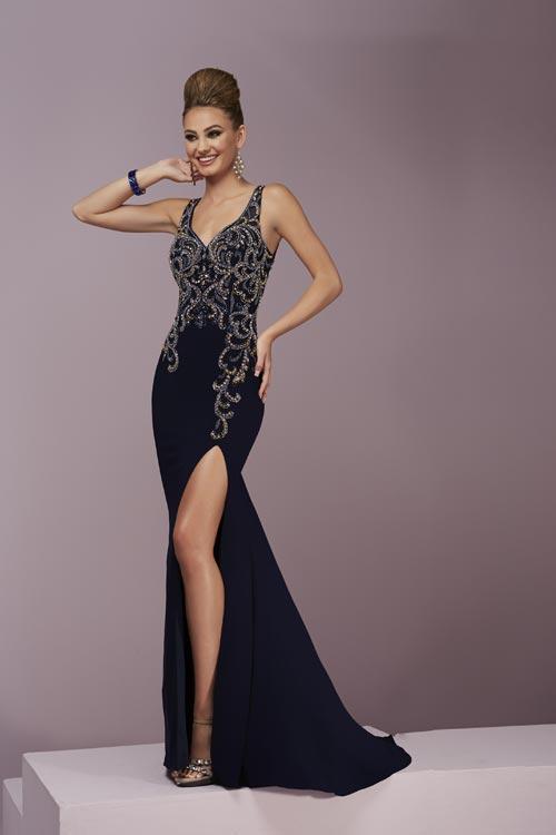 Tiffany Designs - 46077 Mesmeric Beaded V-neck Jersey Dress