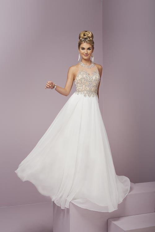 Tiffany Designs - 46082 Alluring Choker Neck Silky Chiffon A-line Dress