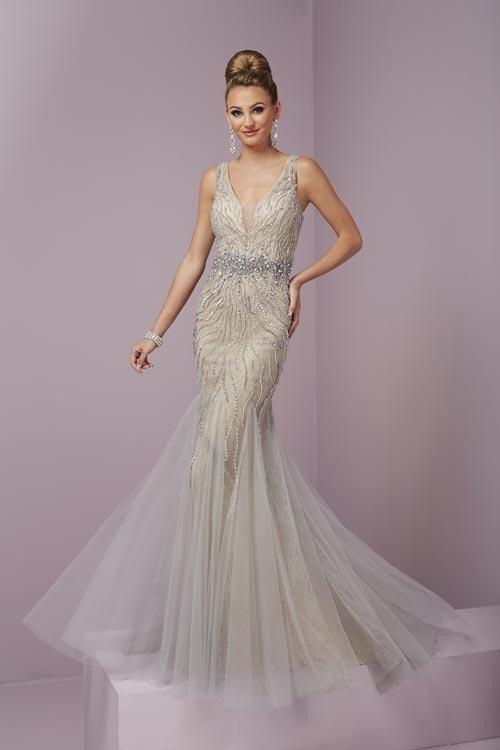Tiffany Designs - 46087 Fabulous V- Neckline Beaded Dress