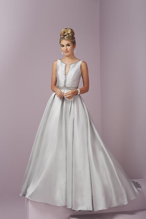 Tiffany Designs - 46091 Elegant Beaded V-Neck Mikado Dress