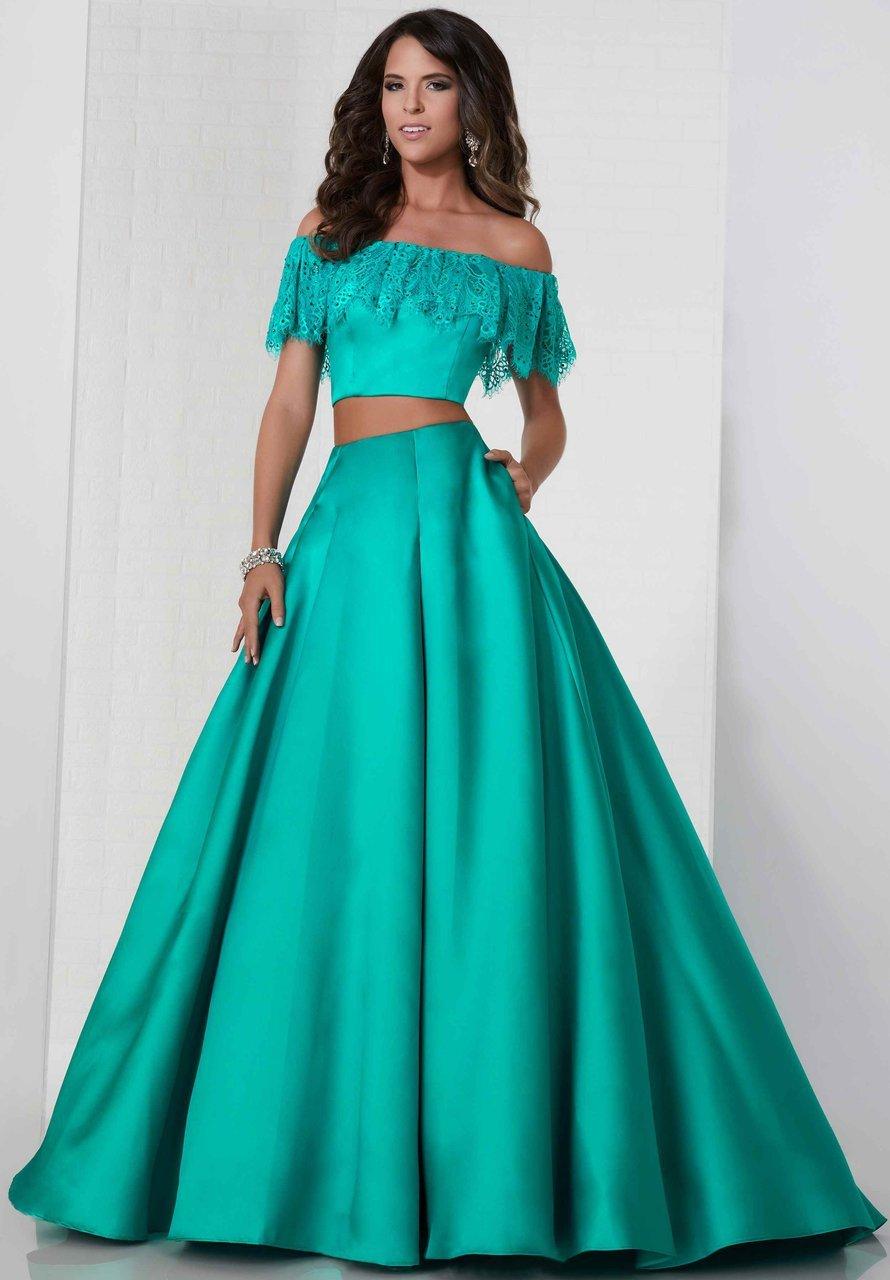 Tiffany Designs - 46134 Off-Shoulder Two-Piece Ballgown