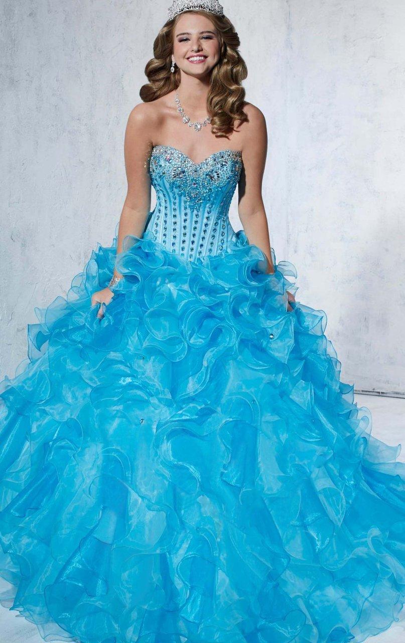 Tiffany Designs - 56260 Beaded Sweetheart Organza Ruffled Ballgown