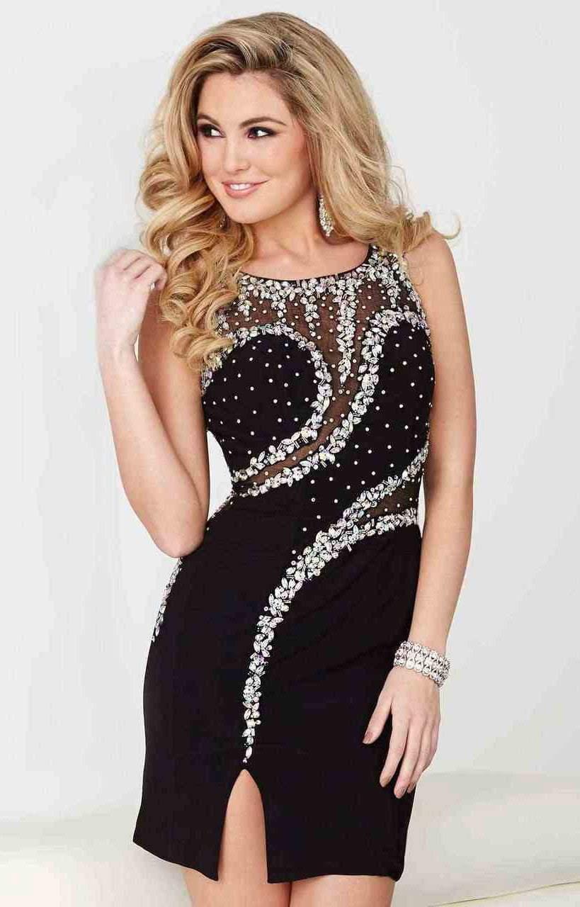 Tiffany Homecoming - 27011 Asymmetrical Beaded Illusion Jersey Dress