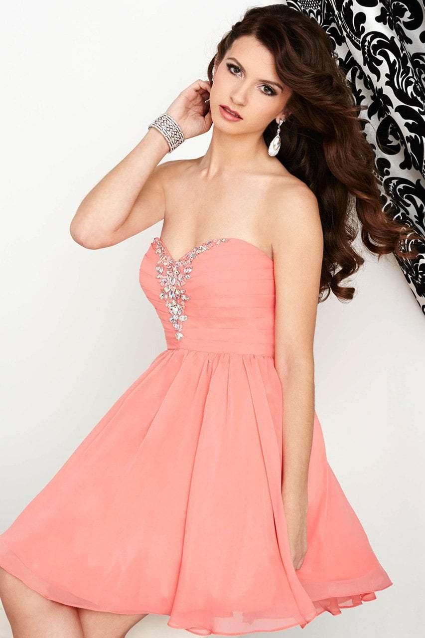 Tiffany Homecoming - 27017 Jewel Decked Pleated Bodice Chiffon Dress