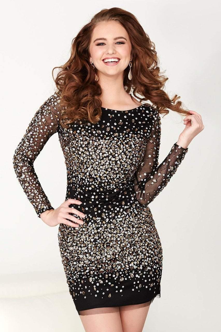 Tiffany Homecoming - 27033 Long Sleeve Illusion Scoop Dress