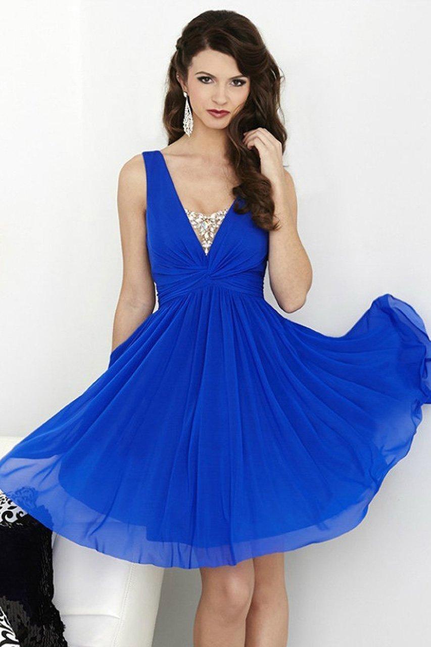 Tiffany Homecoming - 27057 Elegant V- Neckline Flowy Dress