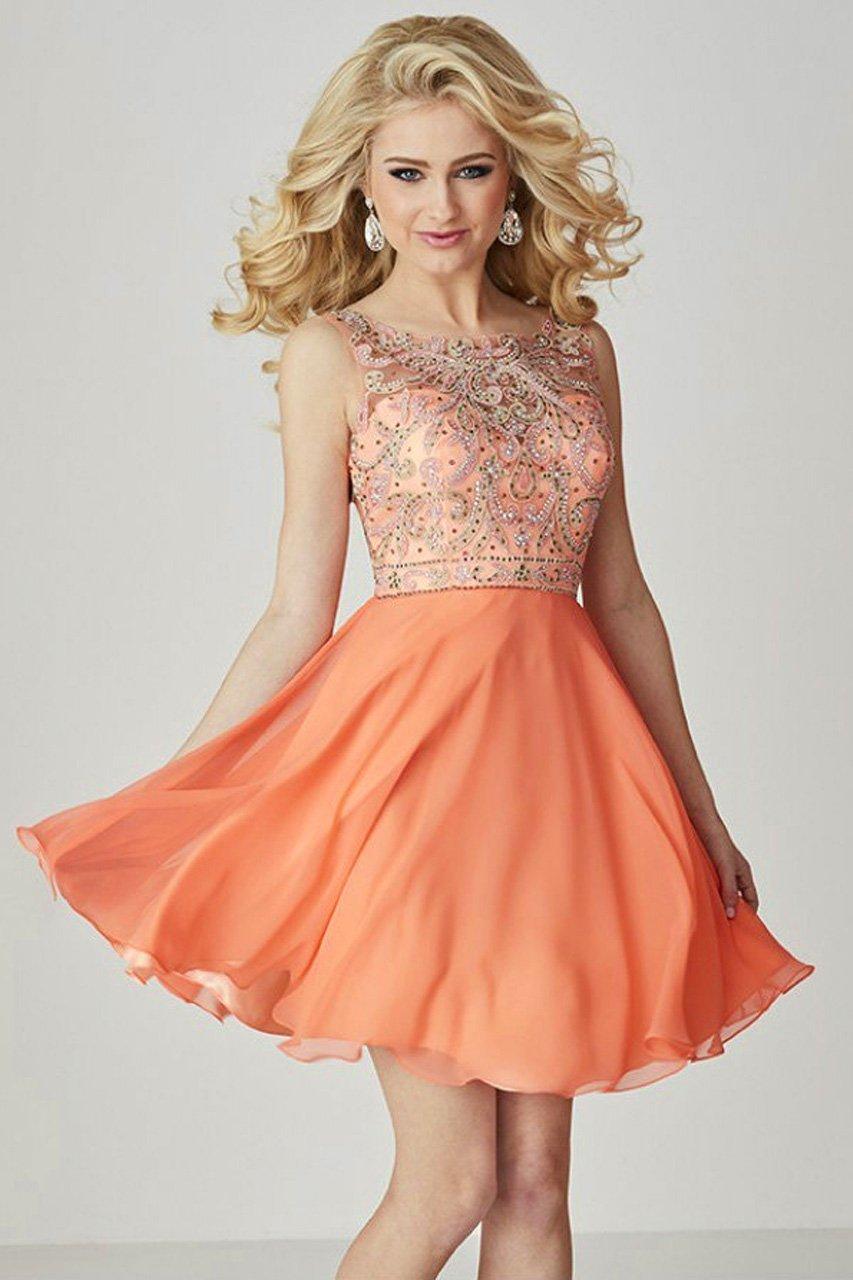 Tiffany Homecoming - 27097 Embroidered Illusion Bateau Neck Chiffon A-line Dress