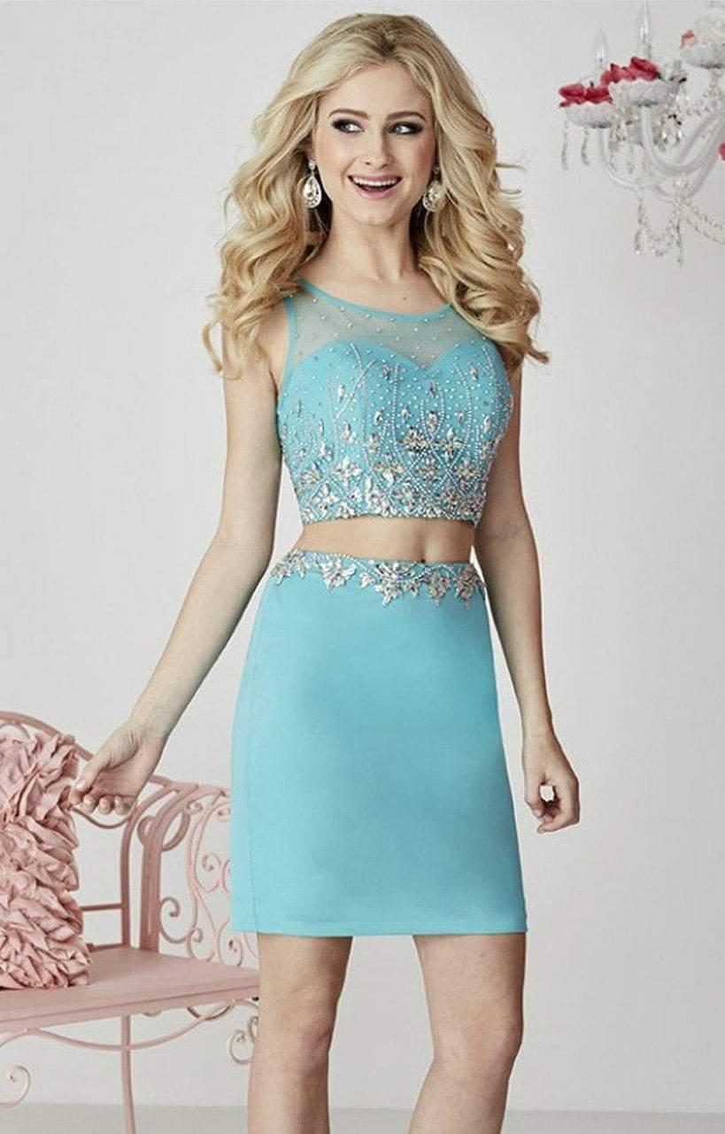 Tiffany Homecoming - 27104 Two-Piece Rhinestone-encrusted Illusion Sweetheart Jersey Pencil Dress