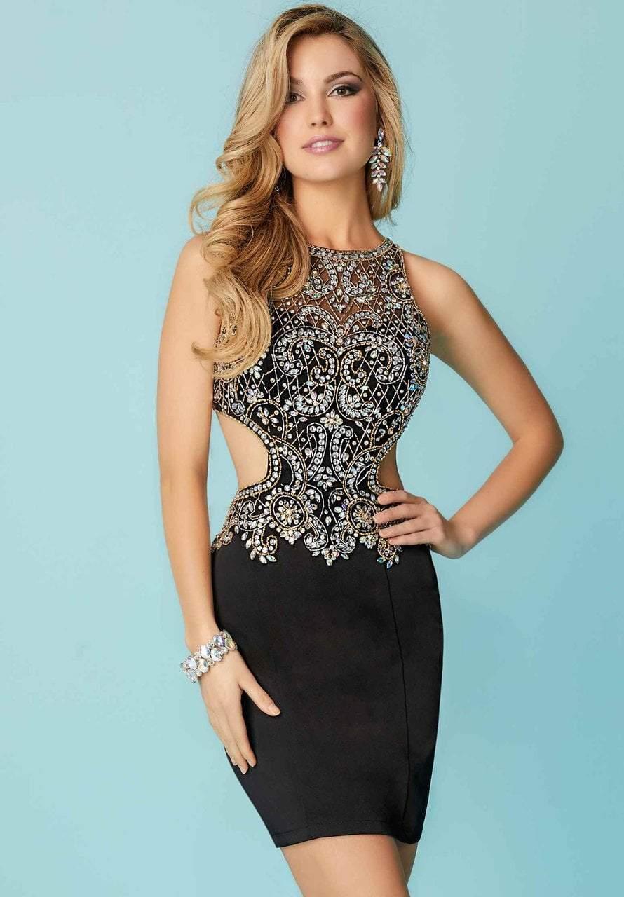 Tiffany Homecoming - 27157 Bedazzled Illusion Neck Jersey Sheath Dress