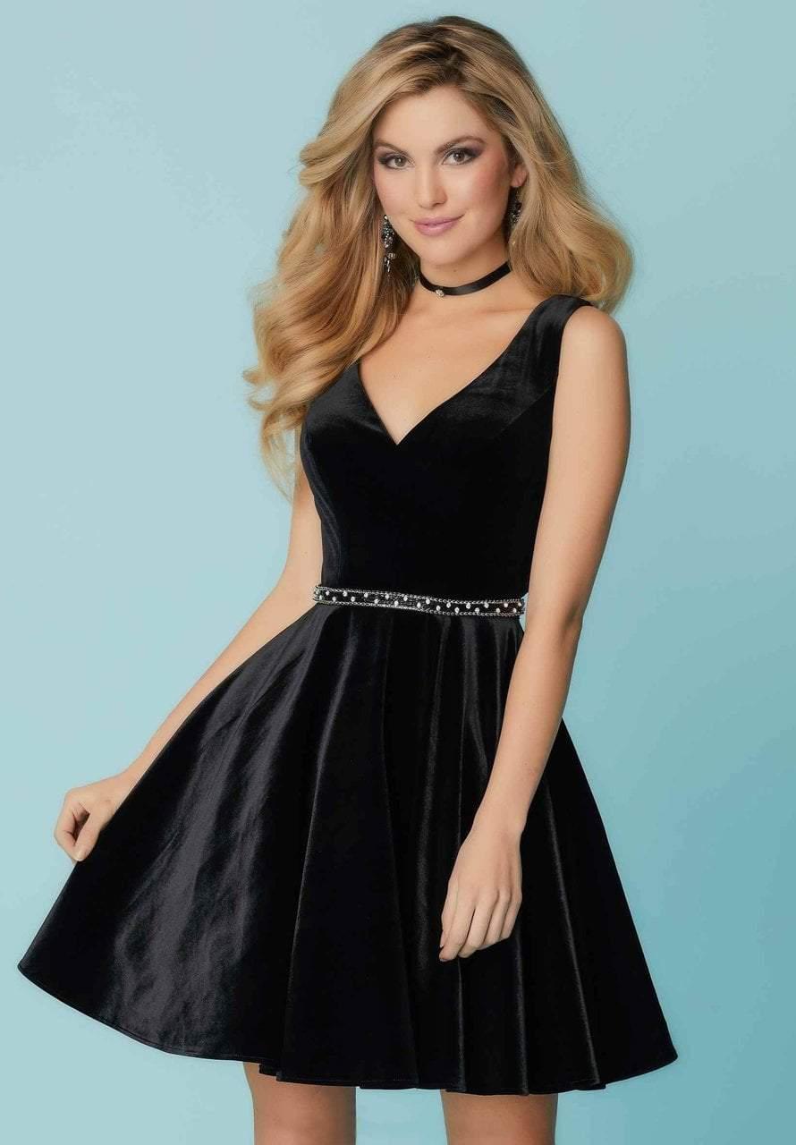 Tiffany Homecoming - 27175 Sleeveless V-Neck Velvet Cocktail Dress