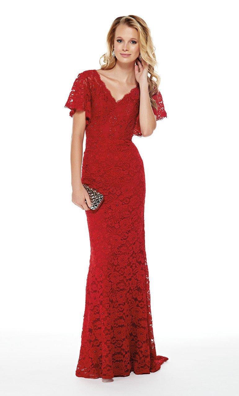 Alyce Paris - 27025 Lace Flutter Sleeve V-neck Sheath Dress