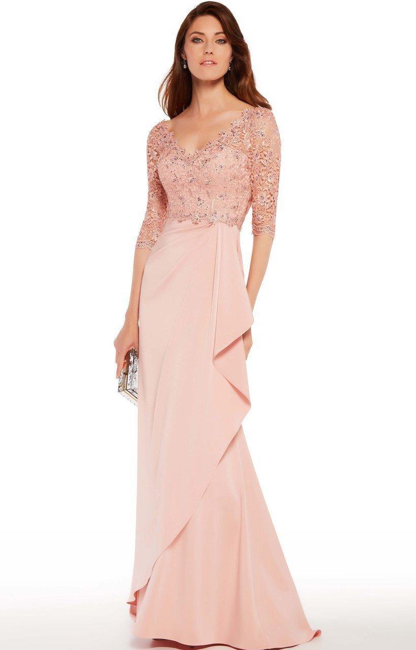 Alyce Paris - 27242 Quarter Sleeve Beaded Lace Wrap Gown