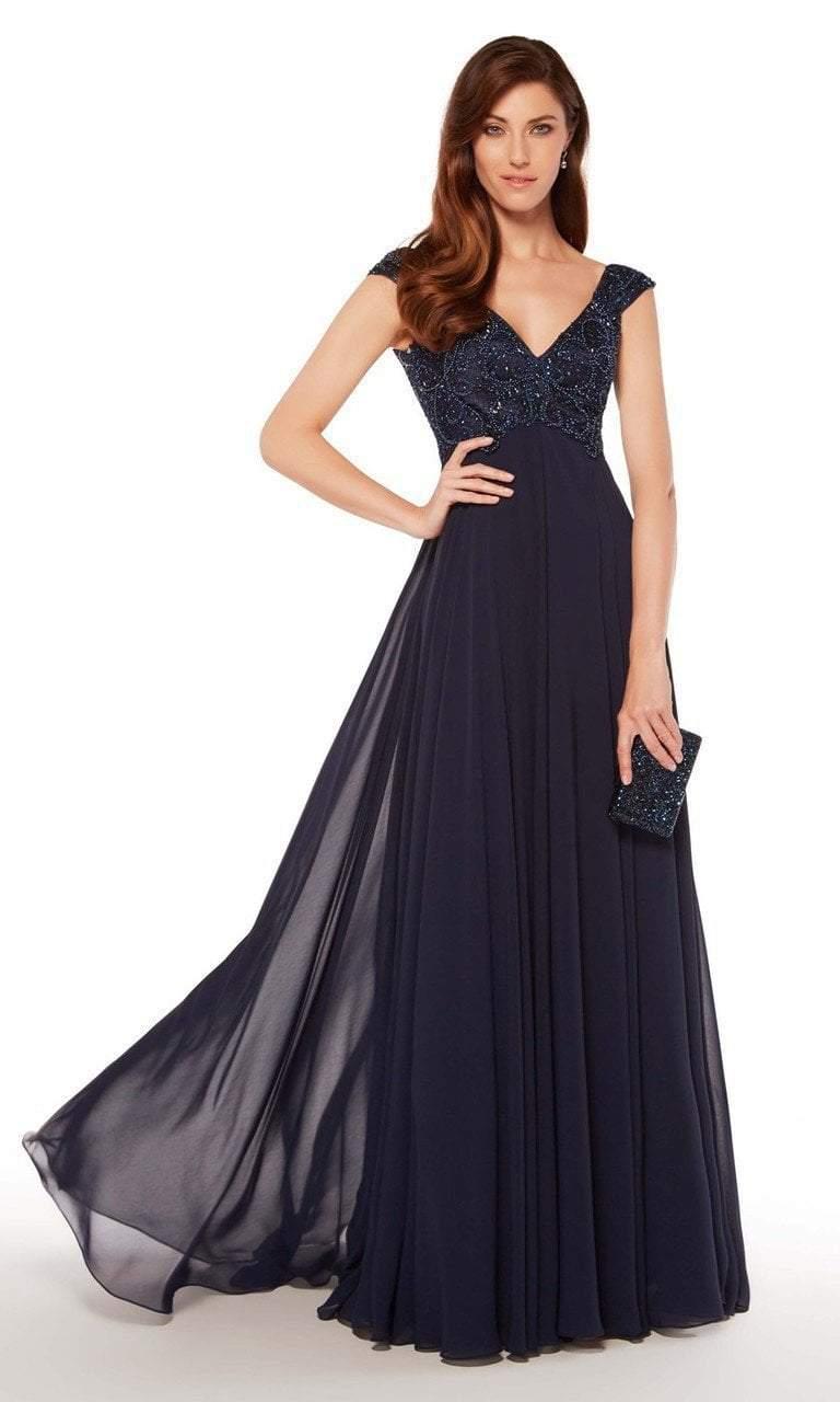 Alyce Paris - 27246 Embroidered V-neck Chiffon A-line Dress