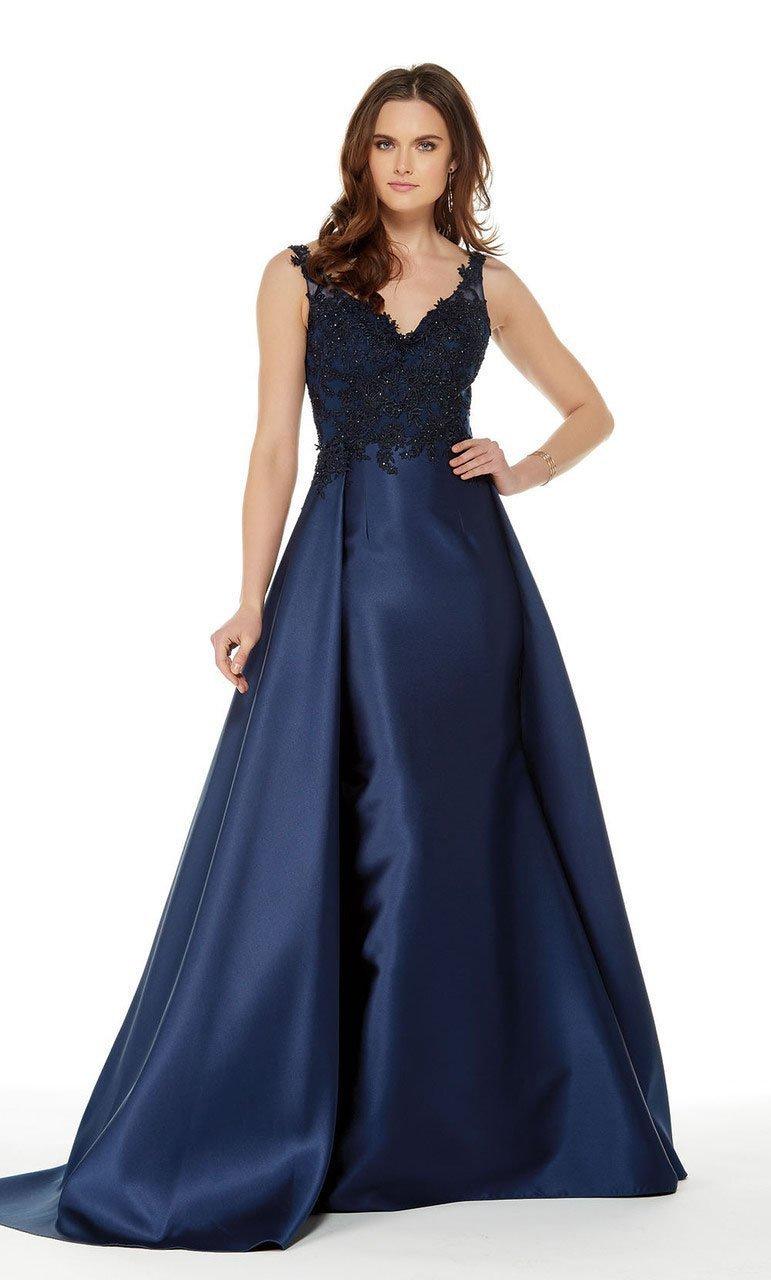 Alyce Paris - 5042 Beaded Applique Sleek Overskirt Long Gown