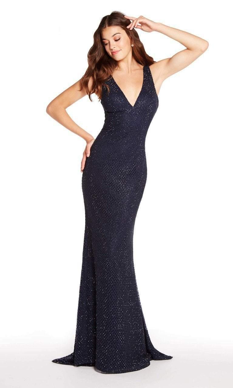 Alyce Paris - 60156 Deep V-Neck Diamond Lace Sheath Gown