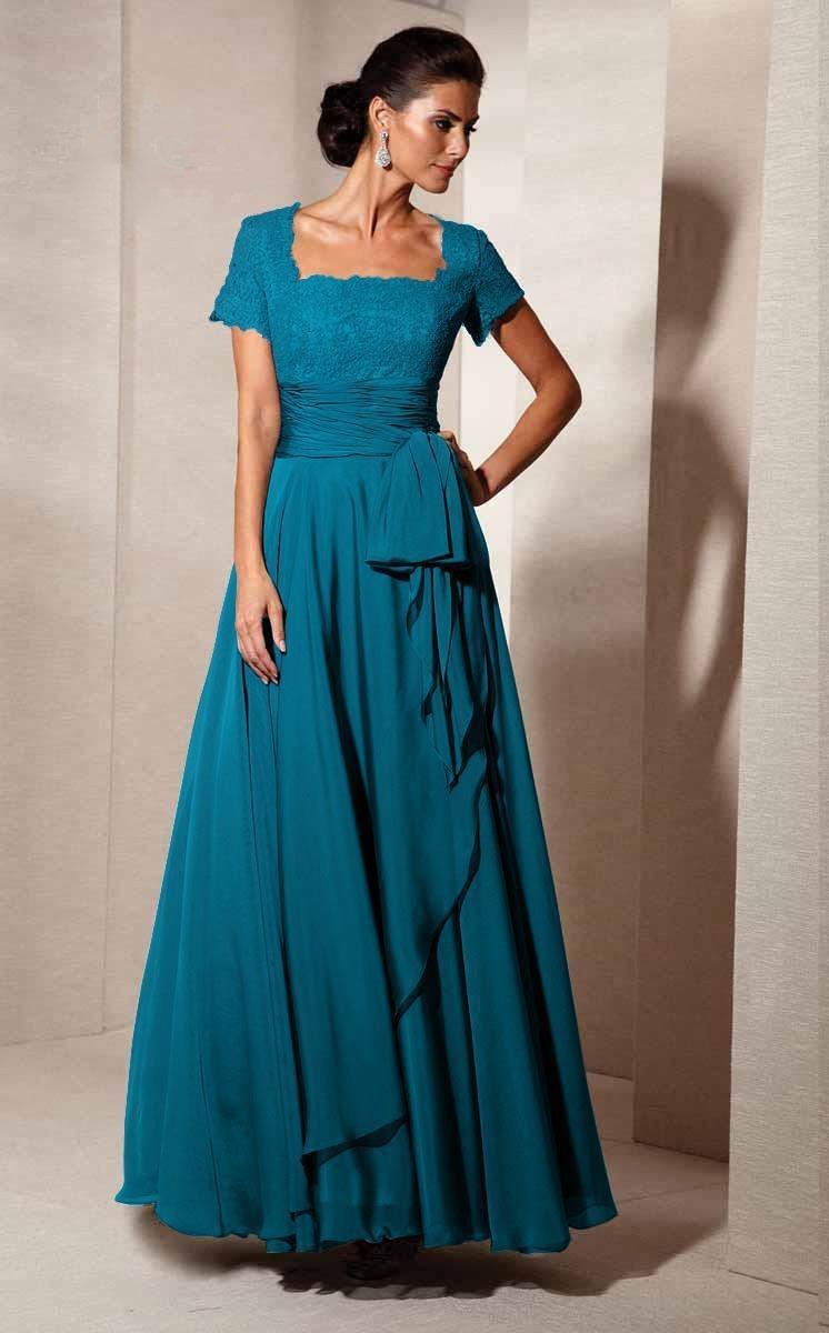 Alyce Paris - Black Label - 29264 Square Neck Lace and Chiffon Gown