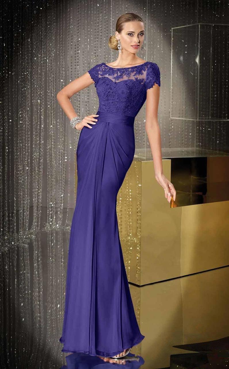Alyce Paris - Black Label - 29687 Cap Sleeve Floral Drape Gown