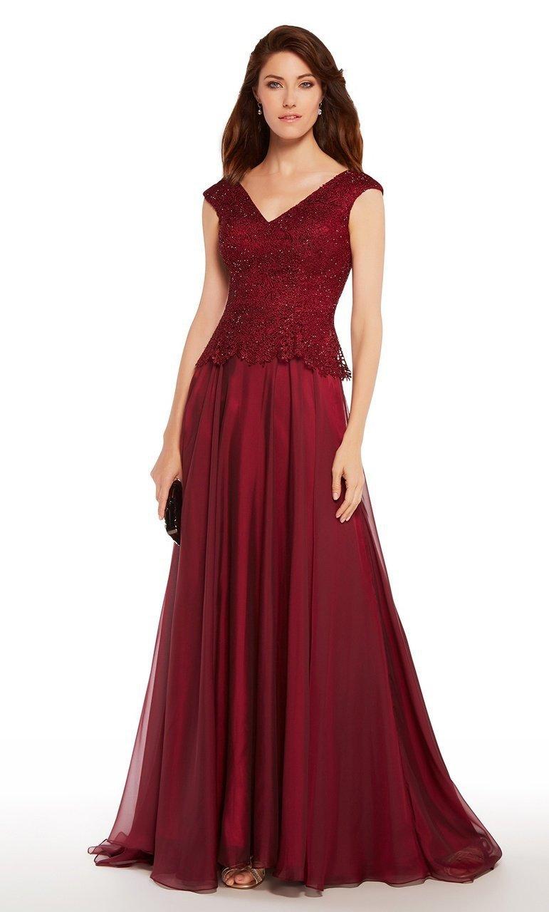 Alyce Paris - 27232 Lace V-neck Chiffon A-line Dress