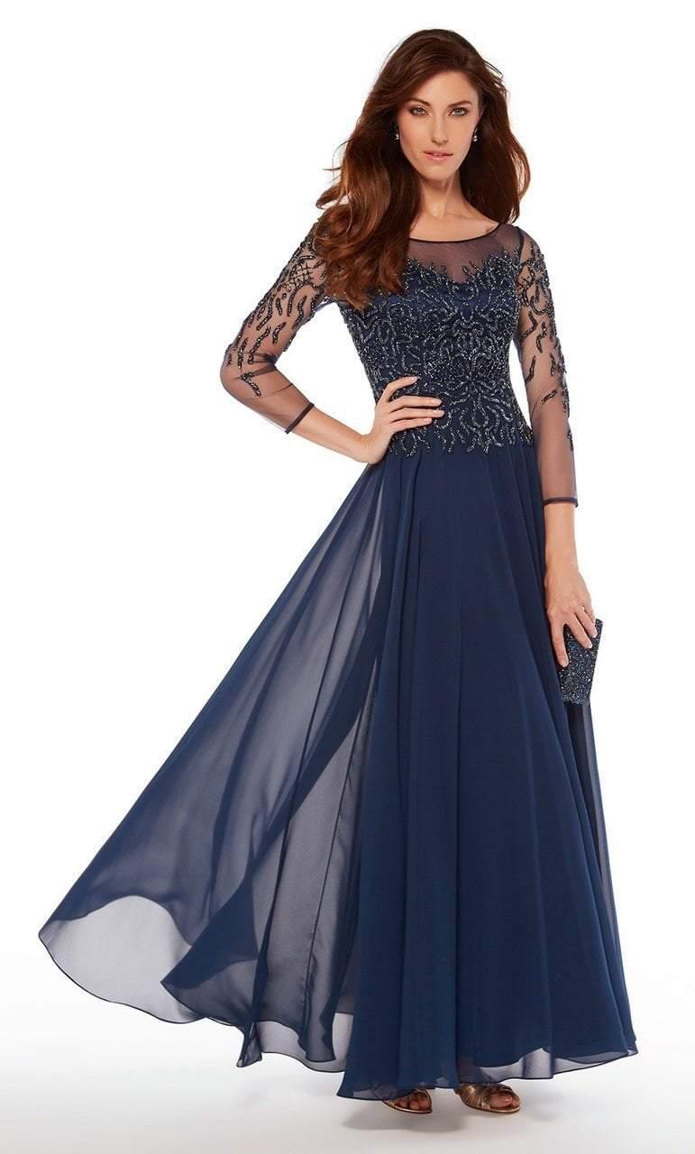 Alyce Paris - 27244 Embellished Quarter Length Sleeve A-line Dress