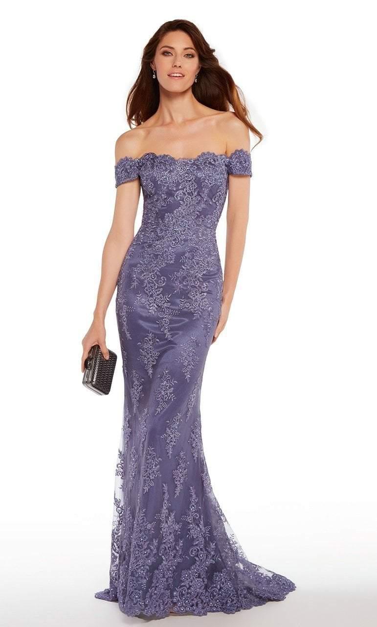 Alyce Paris - 27249 Lace V-neck Chiffon A-line Dress