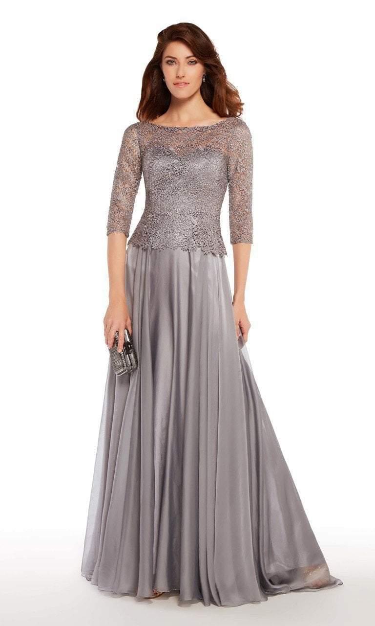 Alyce Paris - 27251 Quarter Sleeve Lace Peplum Evening Gown