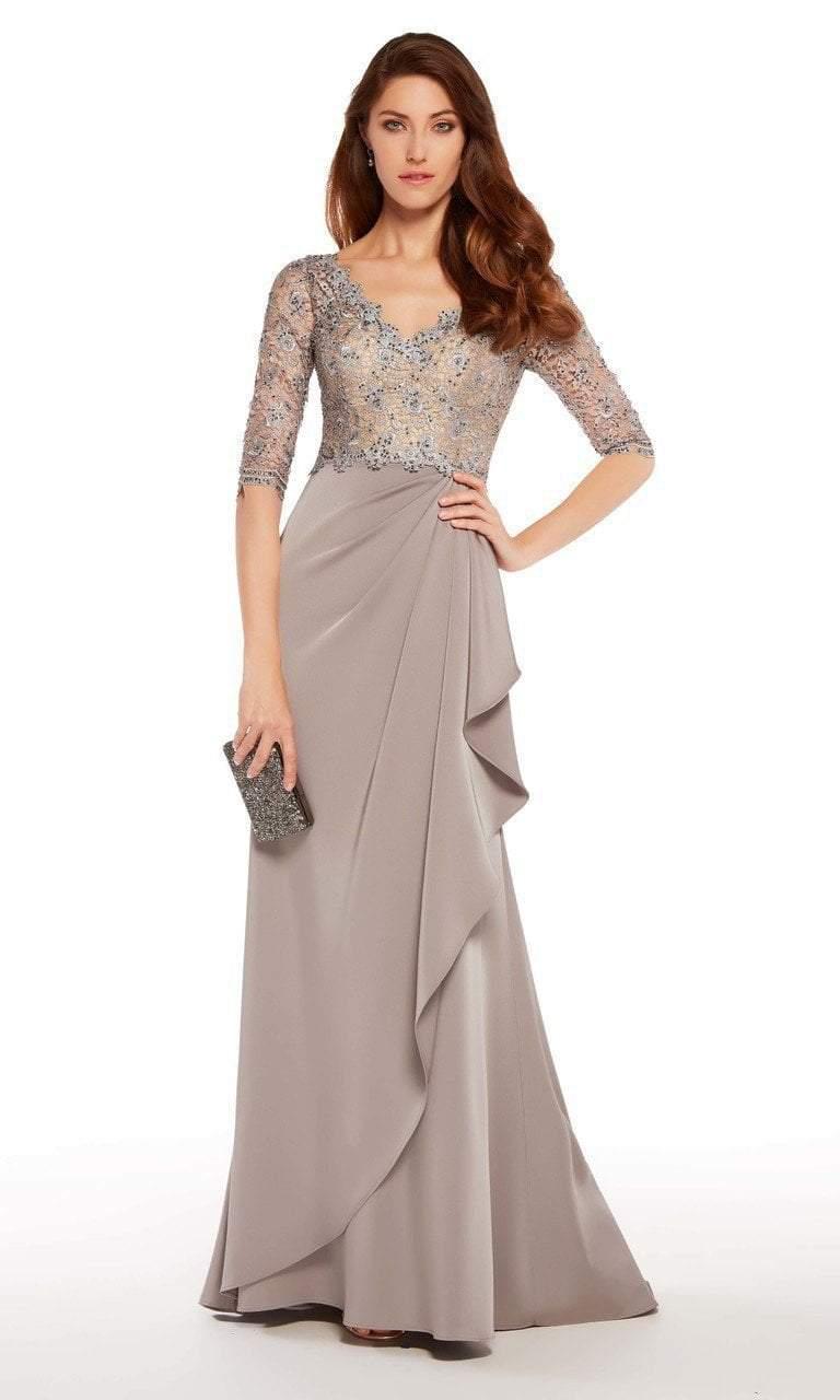 Alyce Paris - 27260 Quarter Sleeve Lace Trimmed A-line Crepe Gown