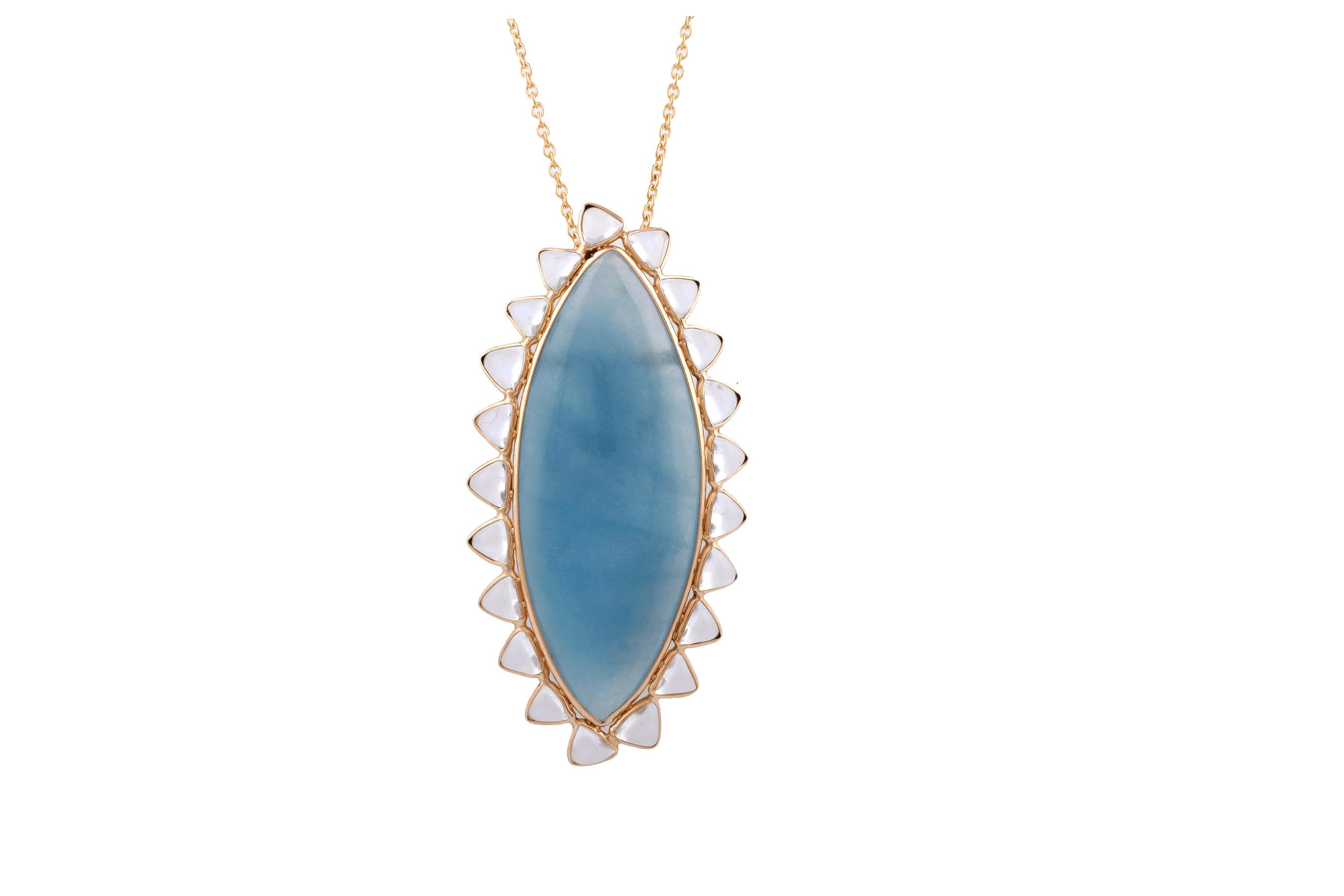 Tresor Collection - Aquamarine Mq. & Rainbow Moonstone Trilliant Pendant in 18k YG