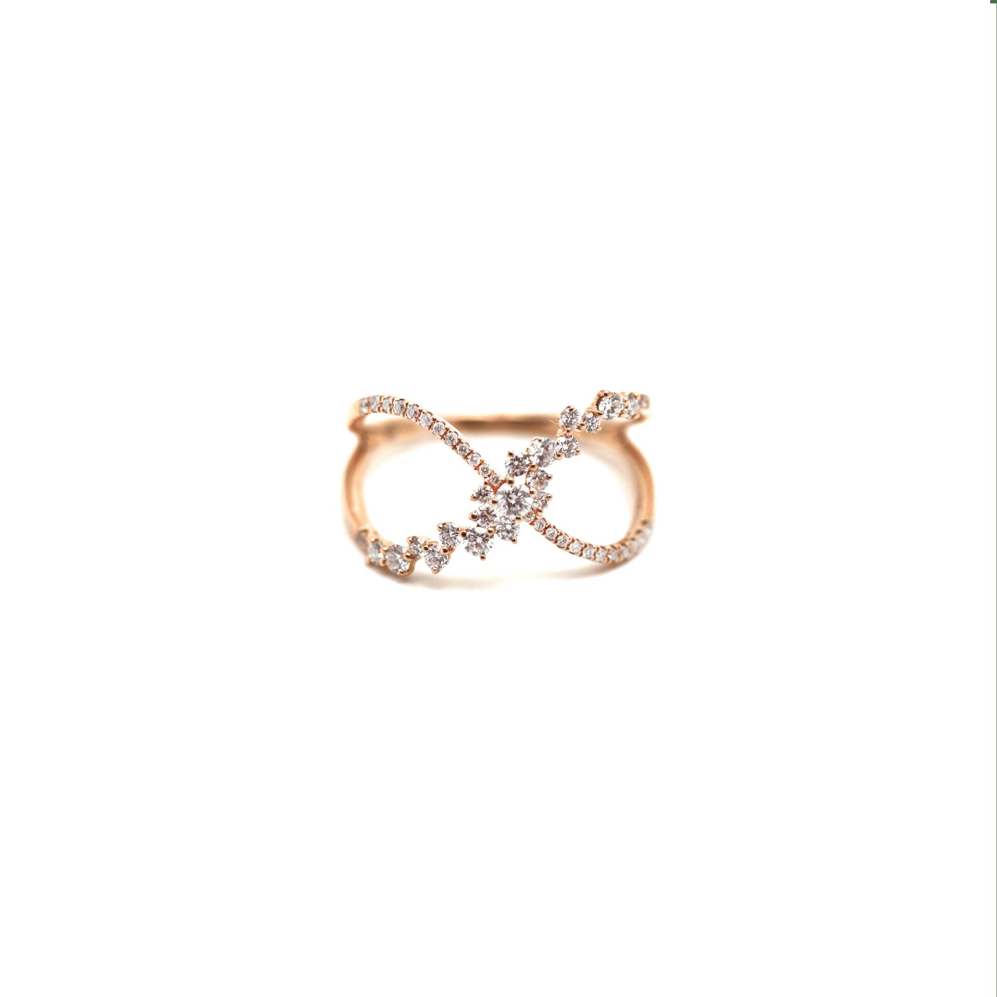 Tresor Collection - Criss Cross Diamond Ring in 18k RG