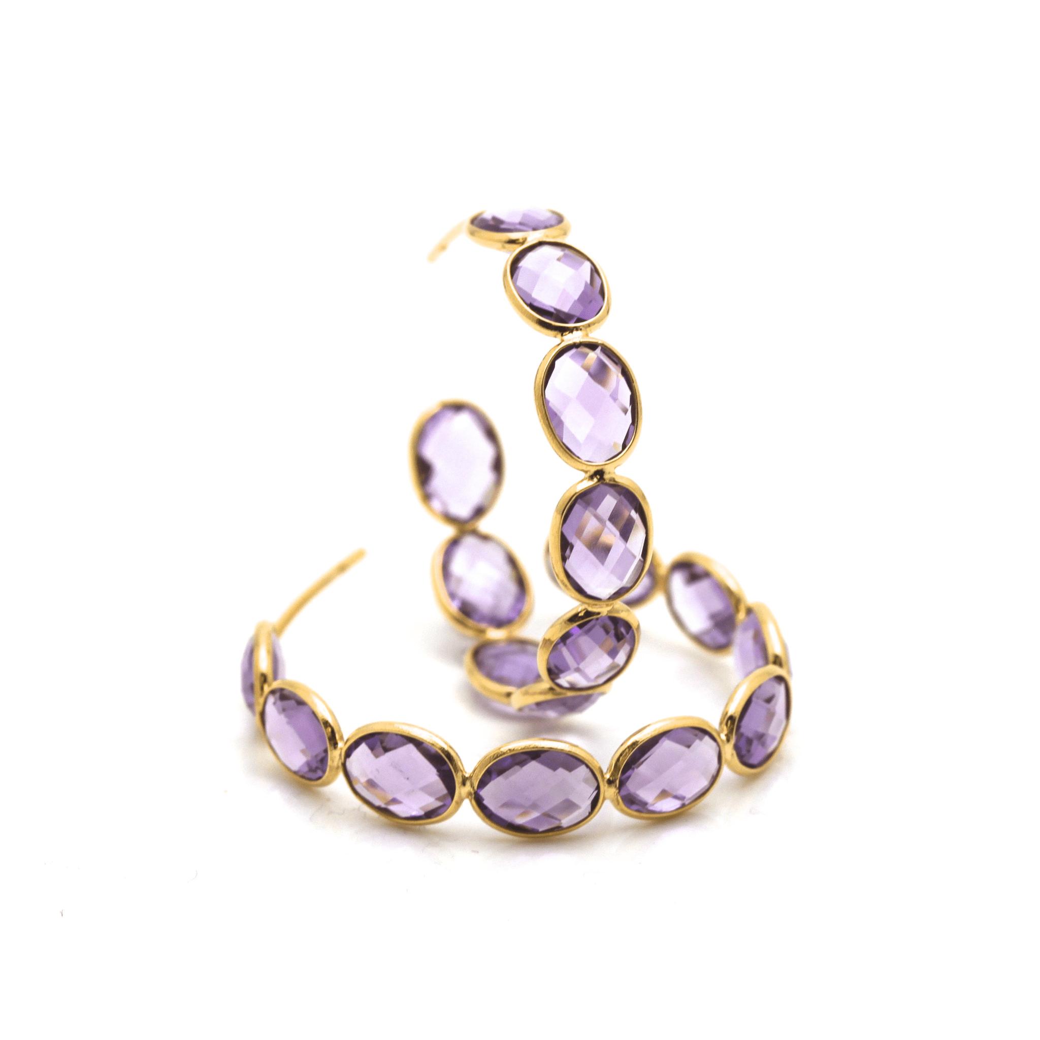 Tresor Collection - Gemstone Medium Hoop Earrings in 18K Yellow Gold