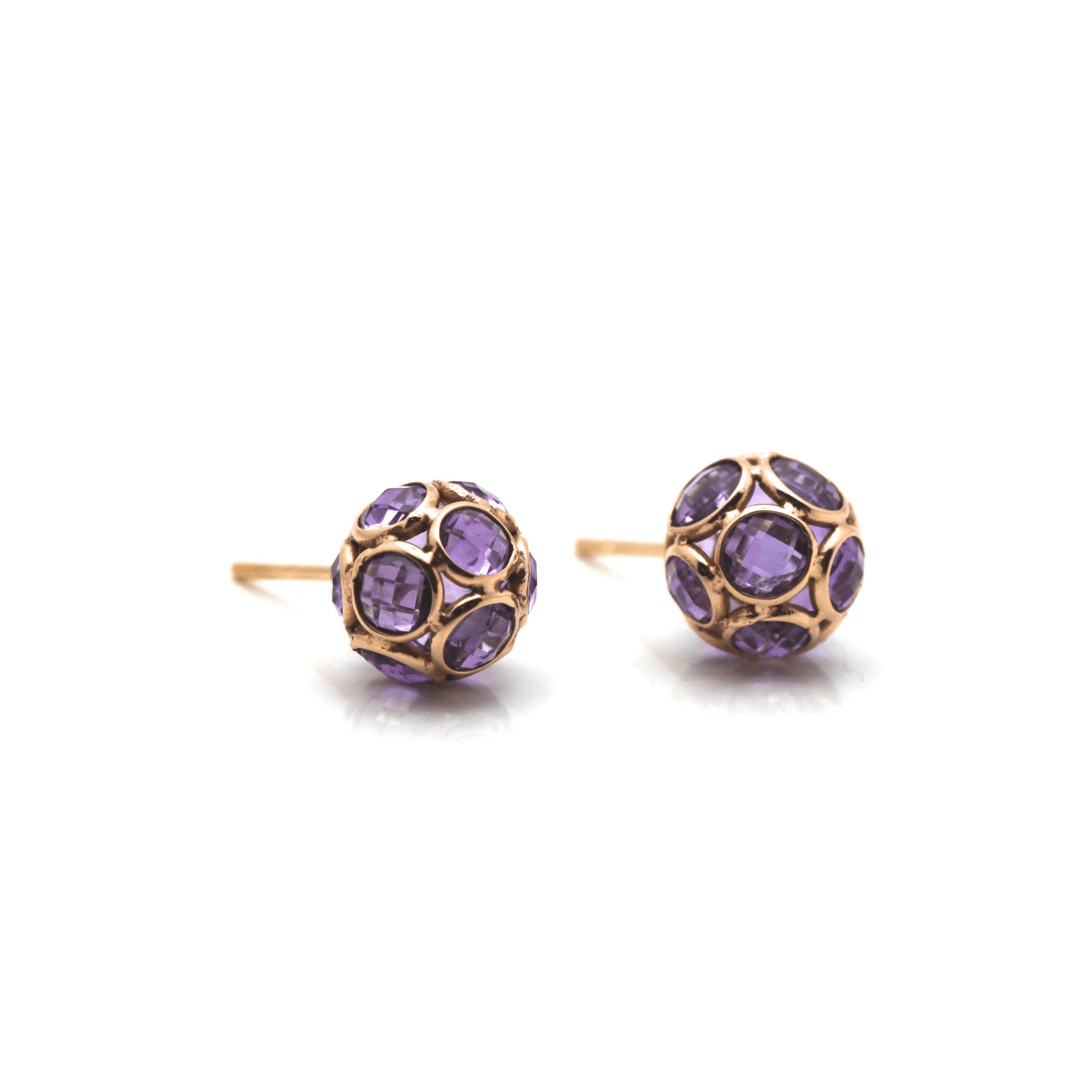 Tresor Collection - Gemstone Origami Sphere Ball Stud Earrings in 18K Rose Gold