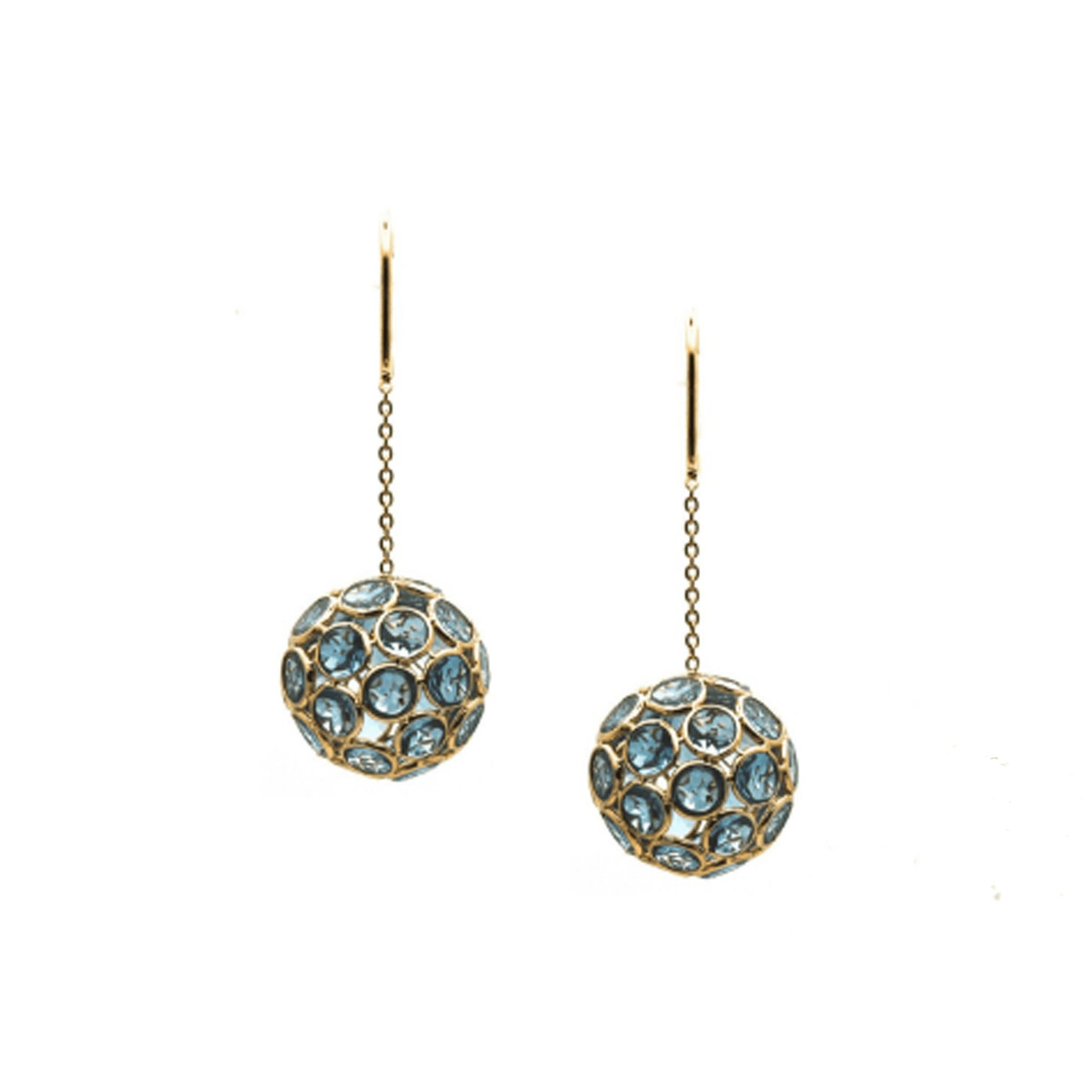 Tresor Collection - Gemstone Sphere Ball Dangle Earrings in 18k Yellow Gold