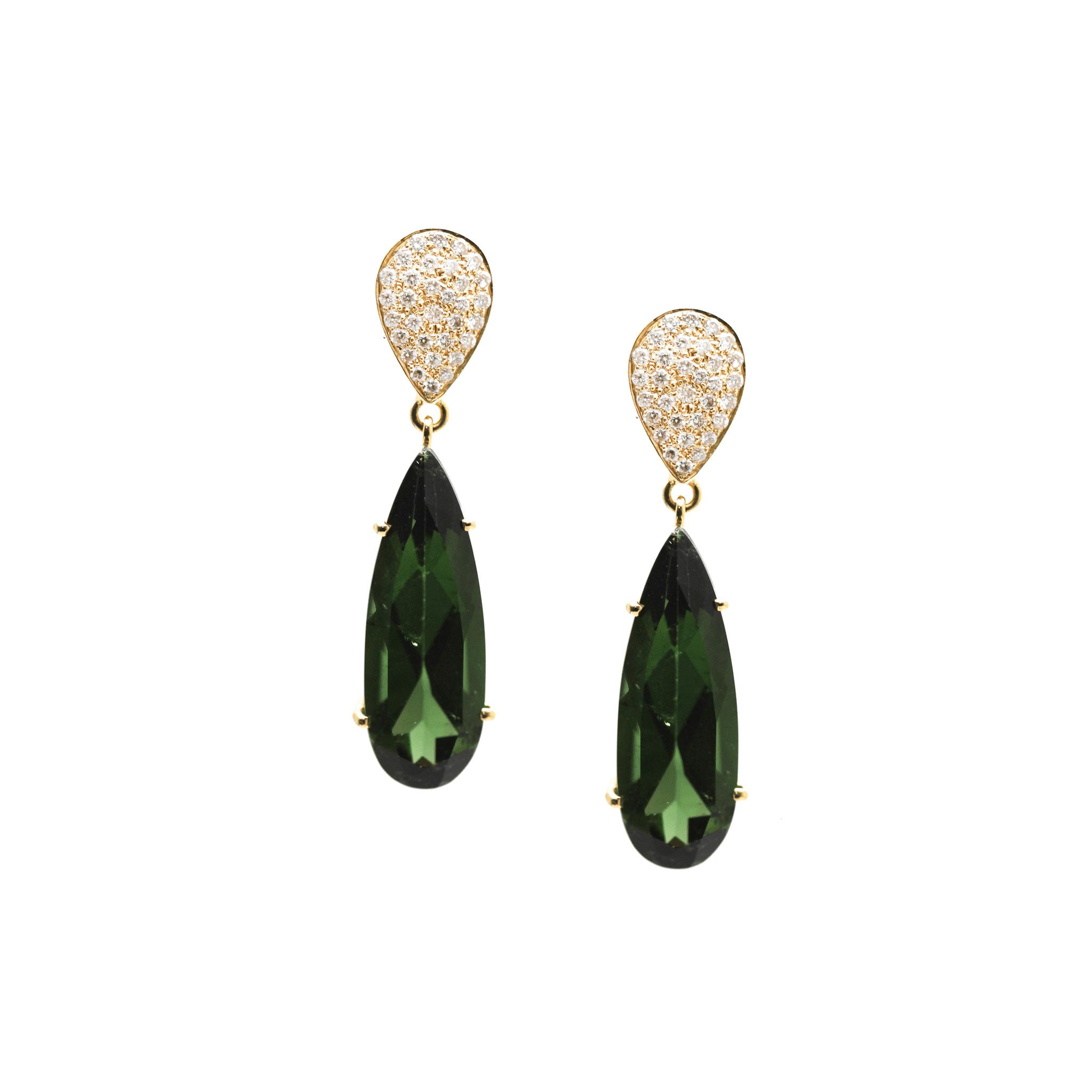 Tresor Collection - Green Tourmaline & Diamond Earrings In 18k Yellow Gold