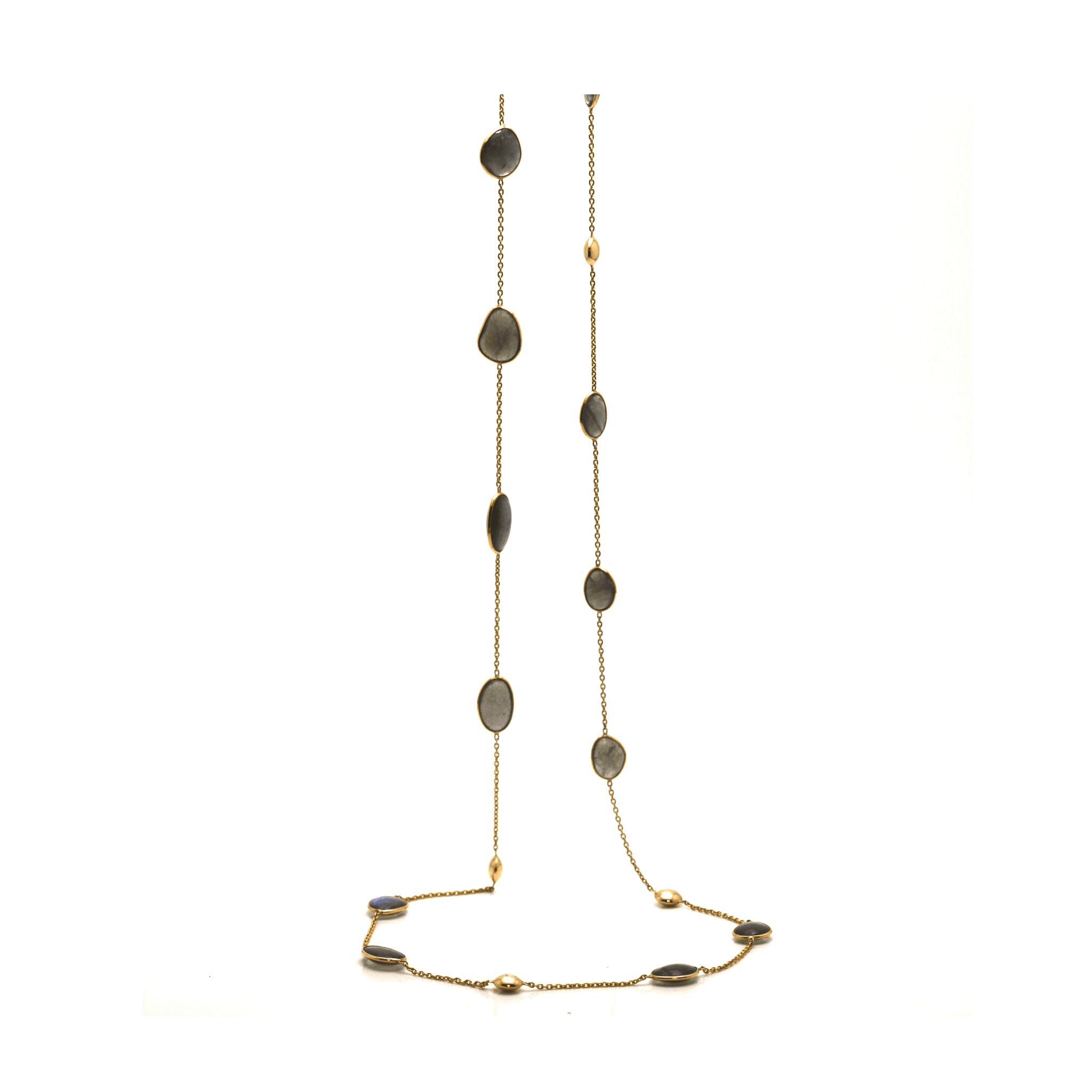 Tresor Collection - Labradorite Long Lente Necklace In 18K Yellow Gold
