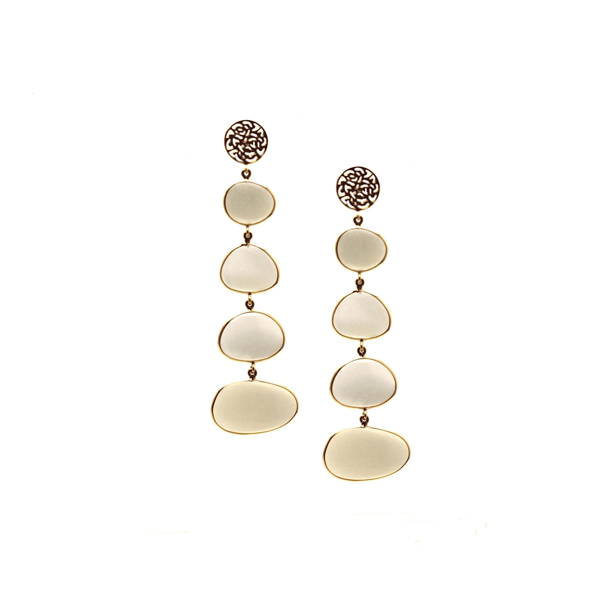 Tresor Collection - Milky Moonstone Unshape Dangle Earring In 18K Yellow Gold