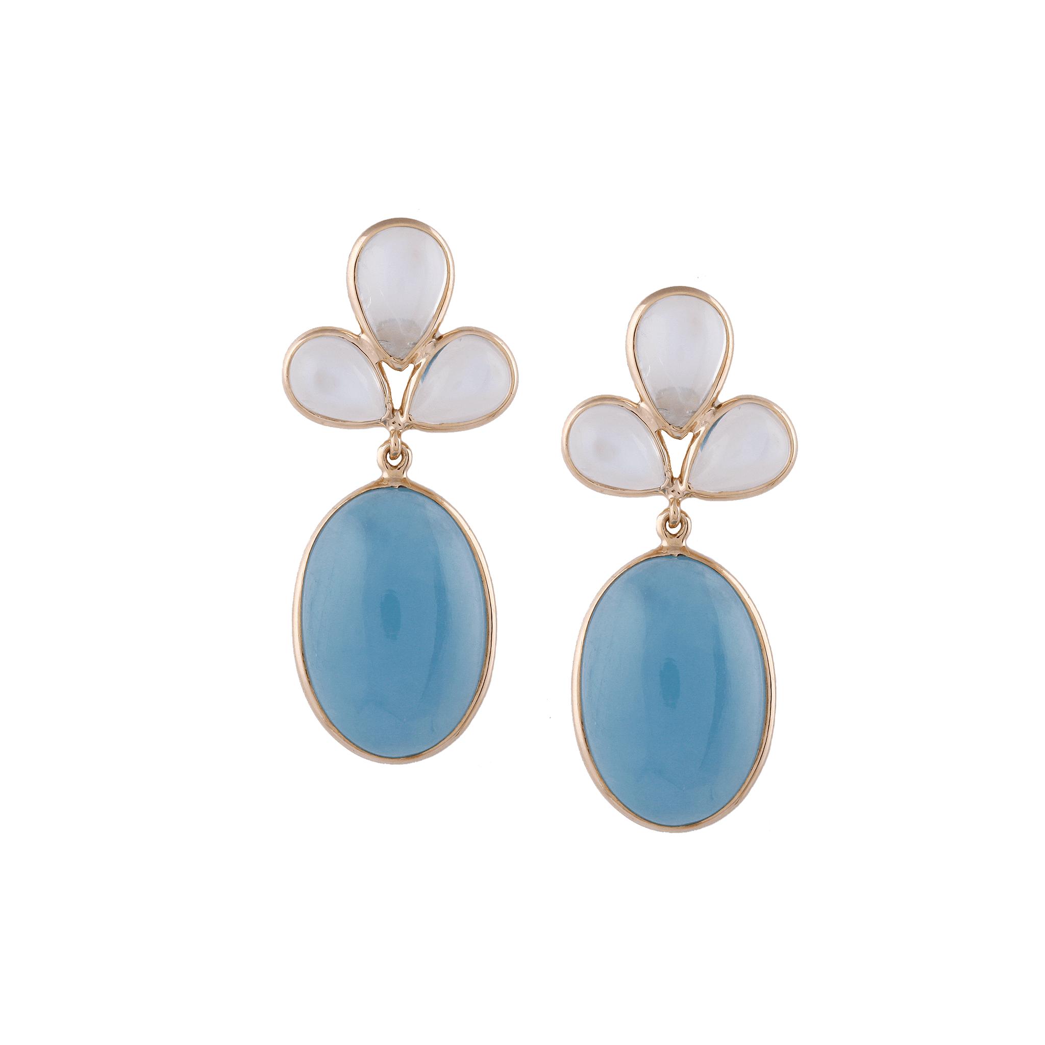 Tresor Collection - Rainbow Moonstone & Aquamarine Oval Earrings in 18K YG