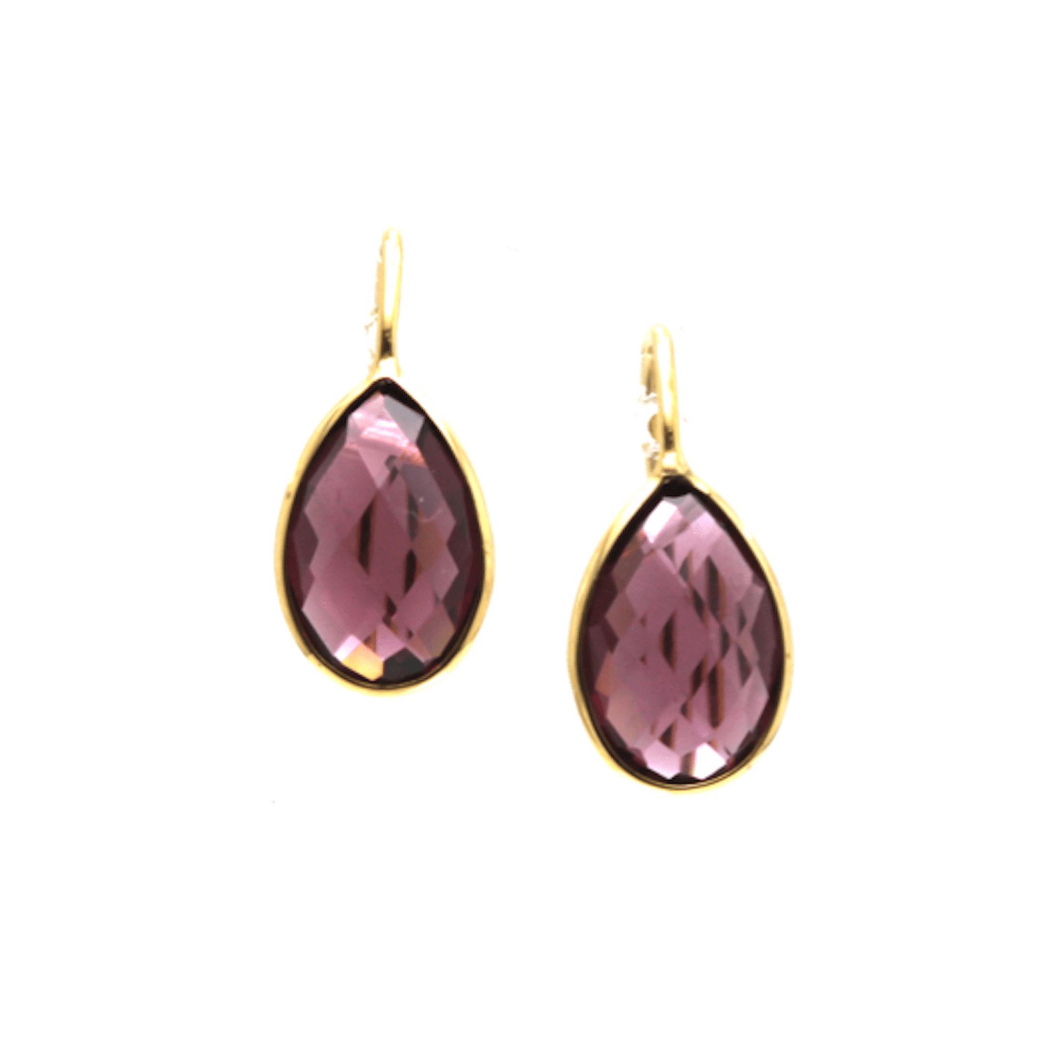 Tresor Collection - Rhodolite Garnet Simple Pear Dangle Earrings in 18K Yellow Gold
