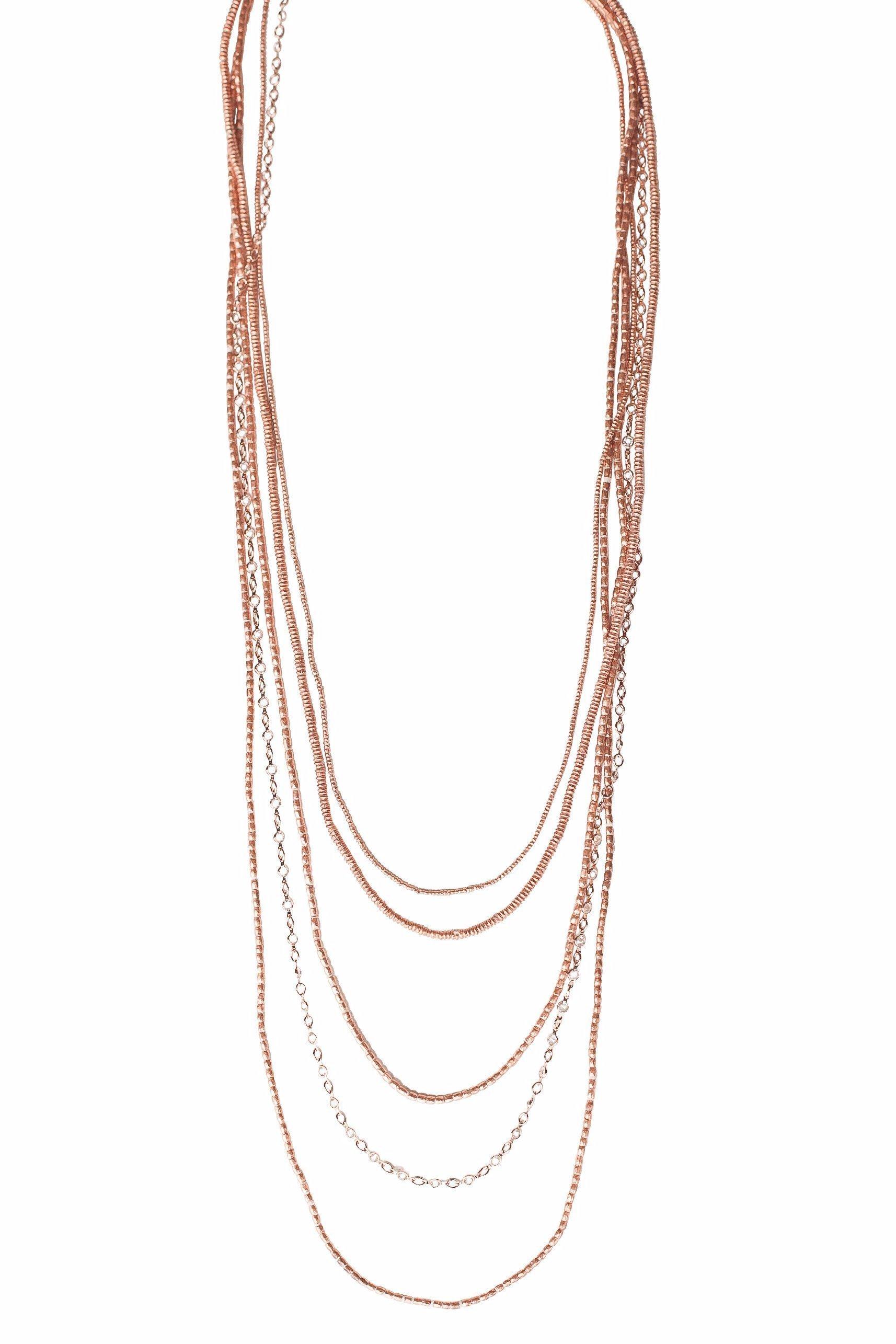Heather Gardner - 5 Layer Petite Crystal Ethiopian Necklace Rose Gold