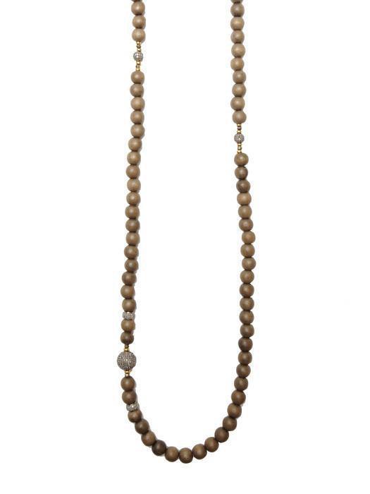 Heather Gardner - African Wood Bead Diamond Necklace